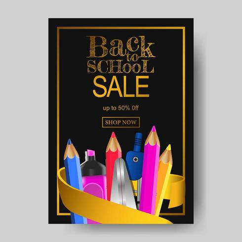 A4 Back to school sale offer banner texture with stationary with black background vector