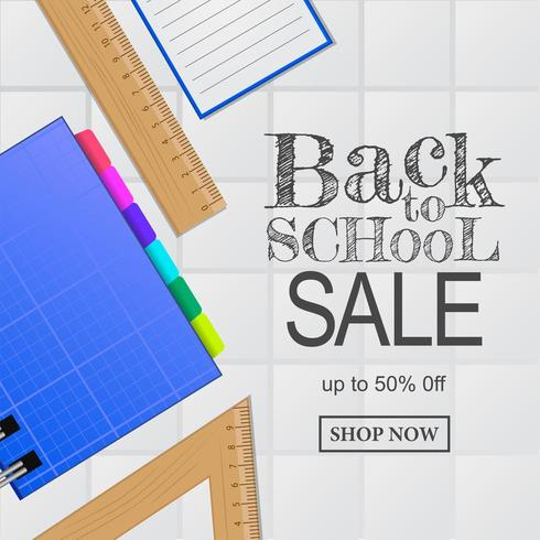 Welcome back to school sale offer banner. notebook, ruler, from top view
