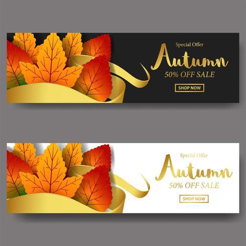 Hojas de otoño otoño con plantilla de banner de oferta de venta de cinta de banner de oro con fondo blanco y negro y texto de oro