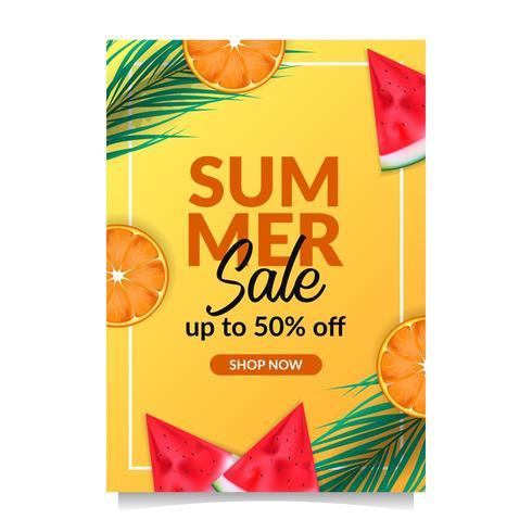 Frutta tropicale del modello dell'insegna del manifesto di sconto di offerta di vendita di vacanza estiva dalla vista superiore