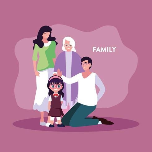 miembros de la familia en cartel vector