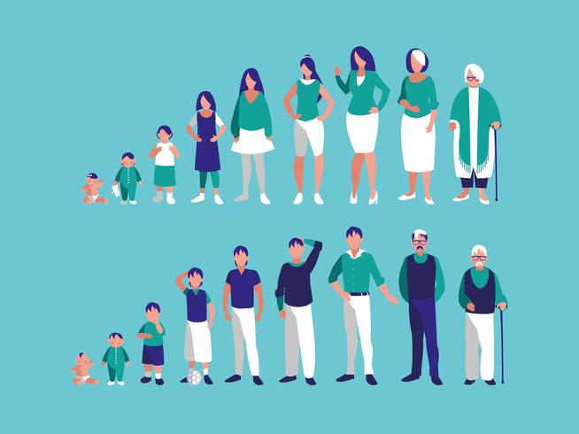 group of family members characters vector