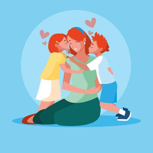 Mother Spending Time with Children  vector