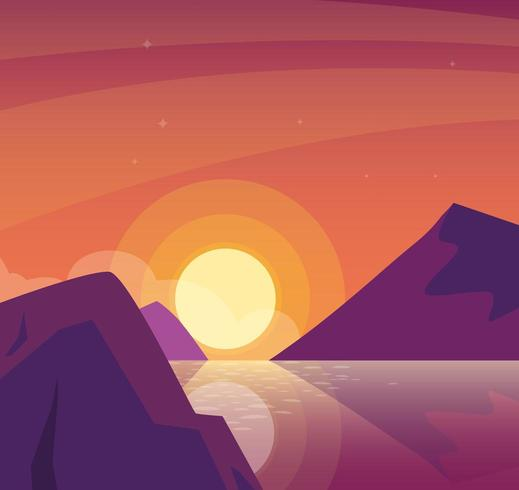 sunset landscape with lake scene  vector