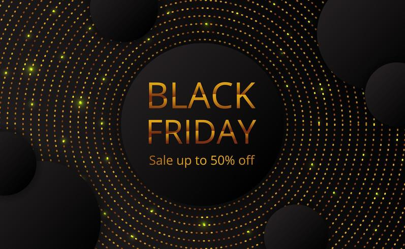 Black Friday sale offer banner poster template with circle golden dot glitter