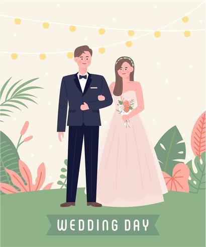 Bröllopspar som står utanför