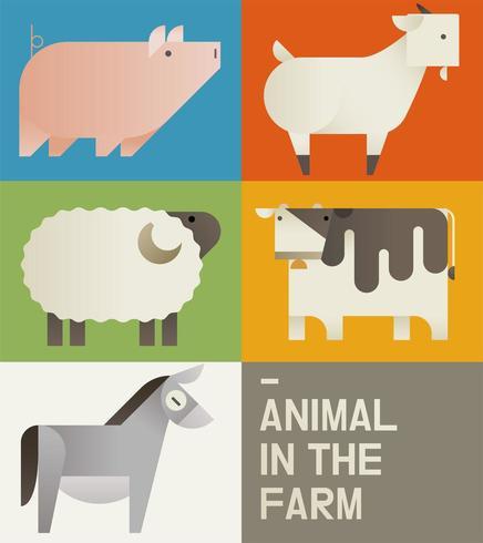 Carte mignonne d'animaux de ferme vecteur