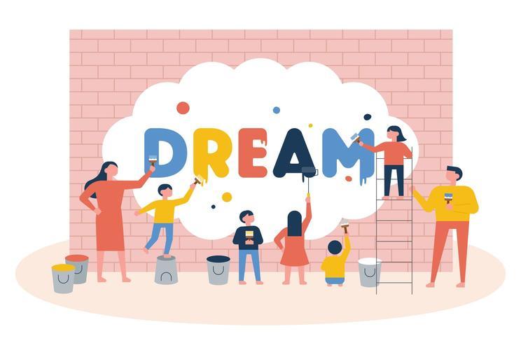 Bambini che dipingono la parola sogno su un muro