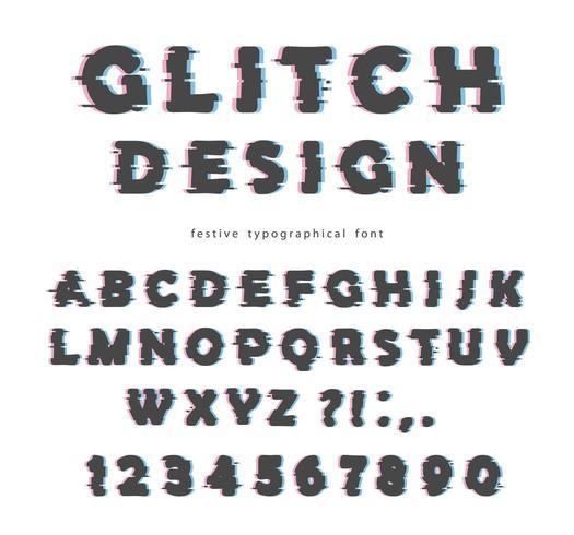 Glitch font design vector