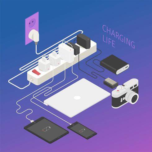 Charging various electronic products. Isometric design.