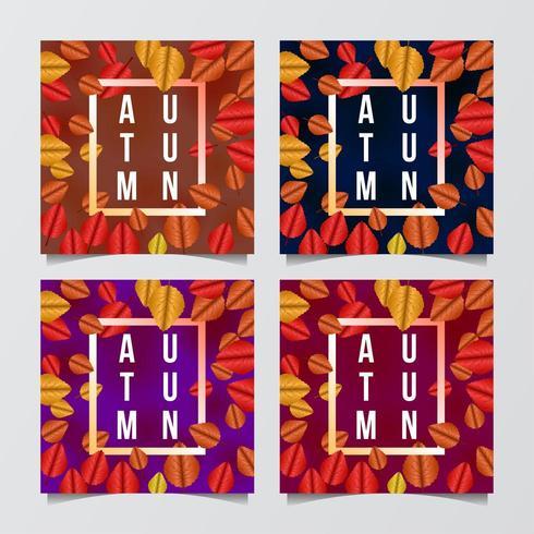 Conjunto de marco de plantilla de tarjeta de felicitación de banner de oferta de venta de otoño vector