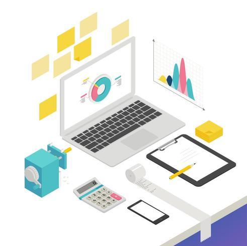 Design isometrico con laptop e forniture per ufficio