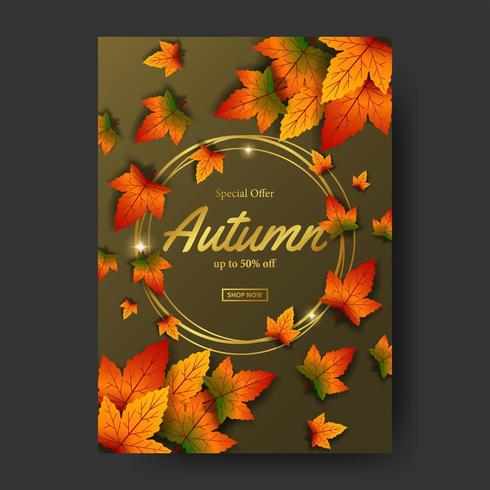 Autumn fall leaves sale offer poster promotion event template with gold circle vector