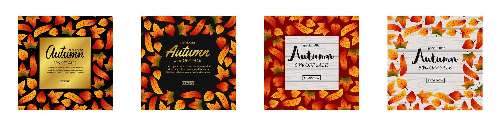 Set of autumn sale banners  vector