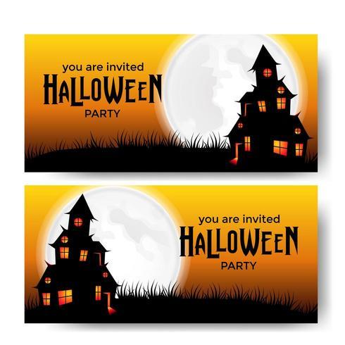 Modèle de bannière fête Halloween avec château effrayant au clair de lune