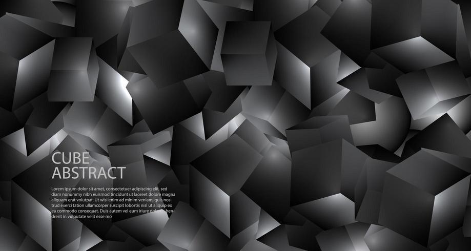 Fondo metallico della struttura cubica nera geometrica poligonale 3D