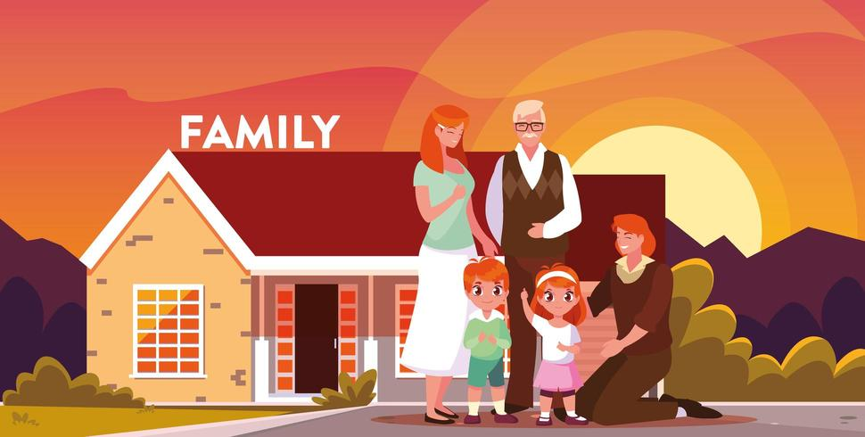 Família, frente, jarda, observar, pôr do sol