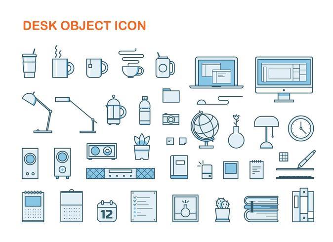 Ensemble d'objets de bureau style style
