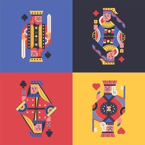 Cartes colorées de roi et de reine