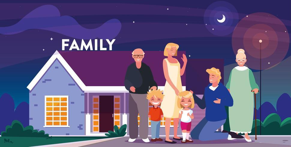 Família dizendo boa noite vetor