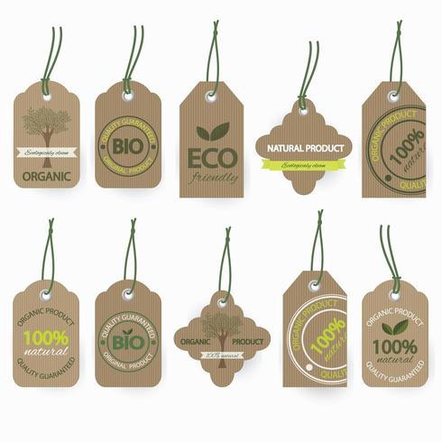 Conjunto de rótulos de papelão bio orgânico natural