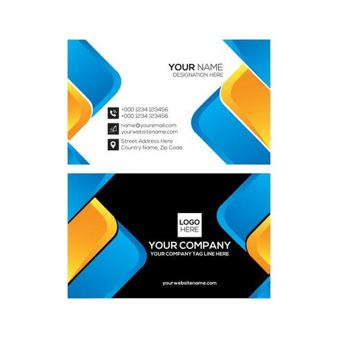 Conception de carte de visite moderne bleu et jaune
