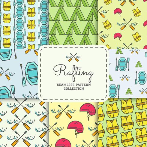 Rafting equipment seamless pattern collection