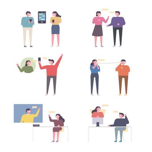 Uppsättning av människor som kommunicerar på olika sätt