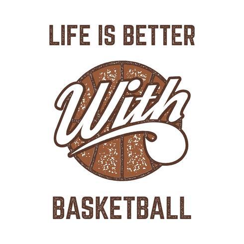 T-shirt de sport vintage de basket-ball dans un style rétro avec ballon et typographie