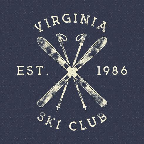Etiqueta vintage del club de esquí de deportes de invierno vector
