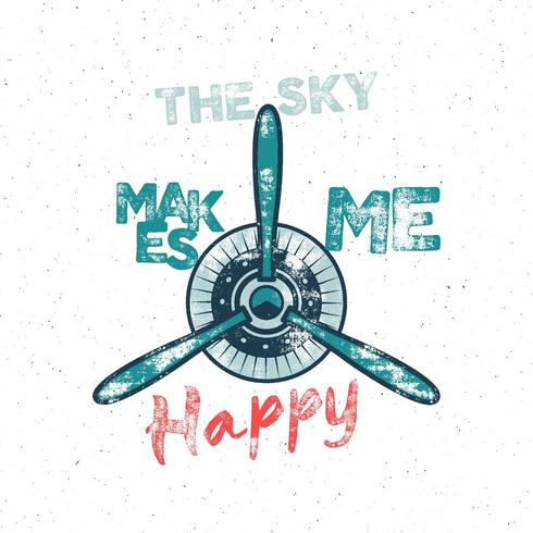 Airplane tee design in vintage style with propeller and vintage typography