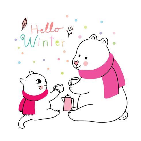 Trinkender Kaffeevektor des netten Winters, der Katze und des Eisbären der Karikatur.