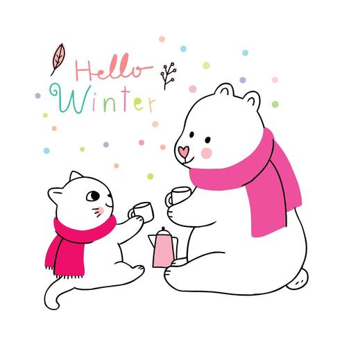 Cartoon cute winter, Cat and polar bear drinking coffee vector.