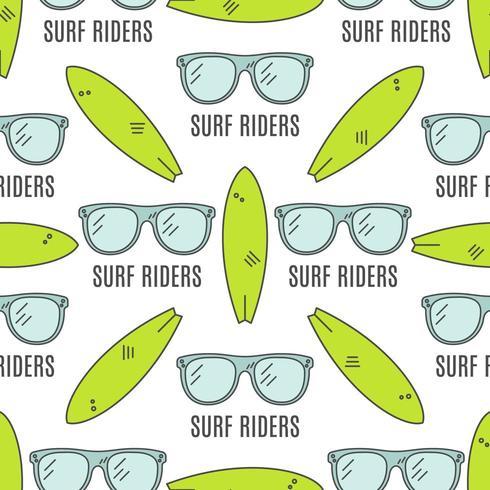 Design estivo senza soluzione di continuità con occhiali da surf, tavole da surf