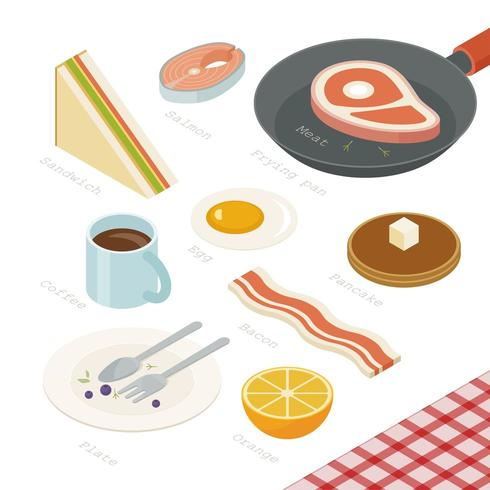 Conception isométrique du menu du petit-déjeuner au-dessus de la table.