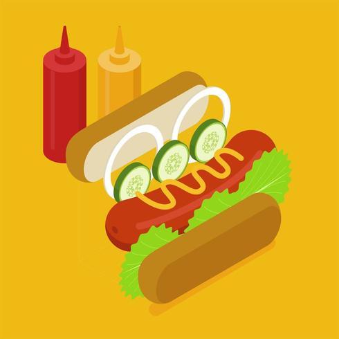 Het isometrische ontwerp van hotdogingrediënten.