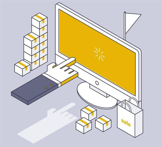 Dessin isométrique de dessin au trait Web shopping Web
