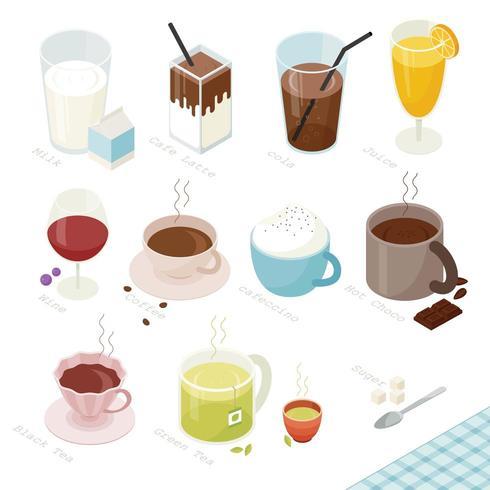 Boissons dans une variété de conception isométrique de menu.
