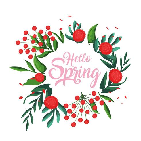 hola tarjeta de primavera con flores vector