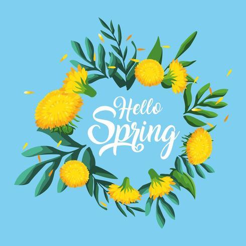 hola tarjeta de primavera con hermosas flores vector