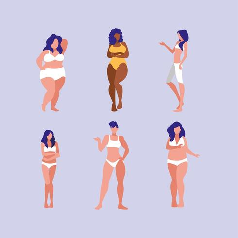 set of women of different sizes  vector