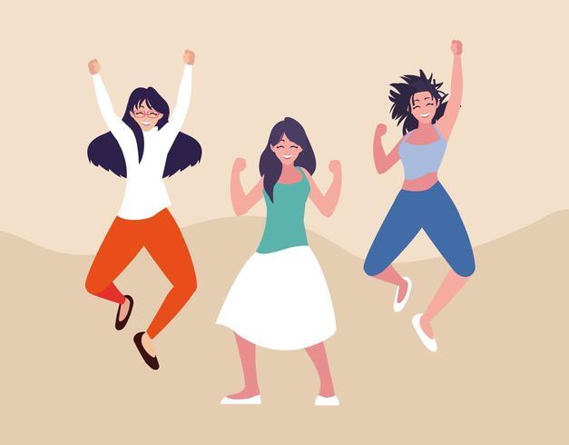 Gruppe junge Frauen, die mit den Händen oben glücklich sind zu feiern