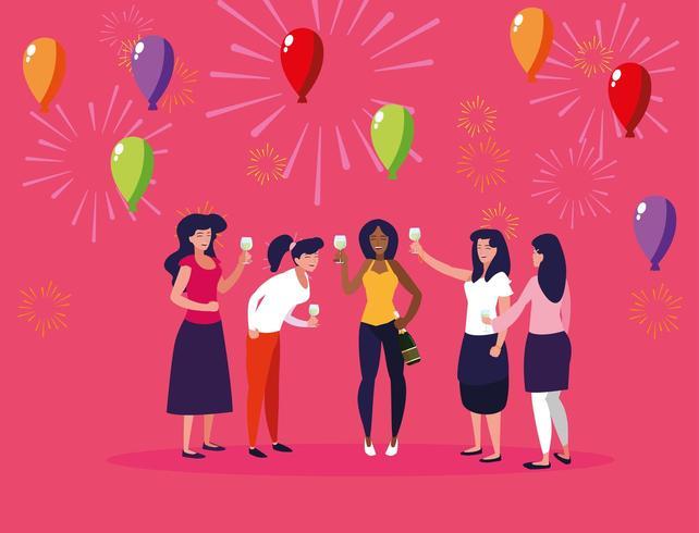 Grupo de mujeres celebrando vector