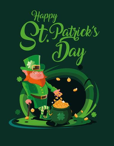 st patrick day with leprechaun and cauldron