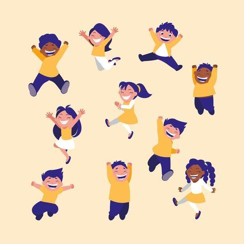 grupo de niños celebrando