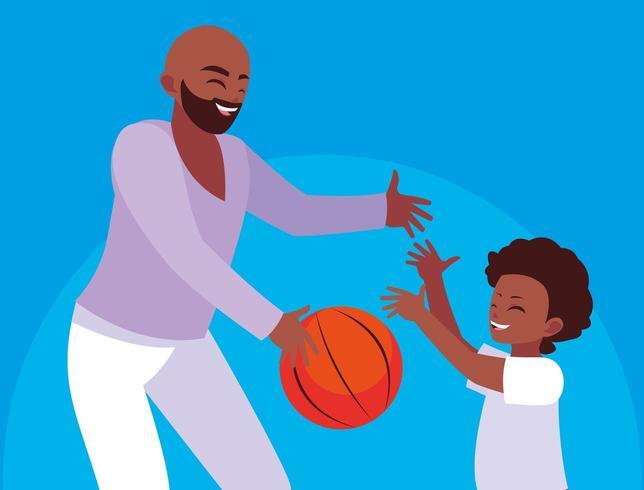 Père jouant au basket avec son fils