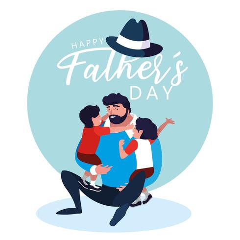 happy father day card with dad and children