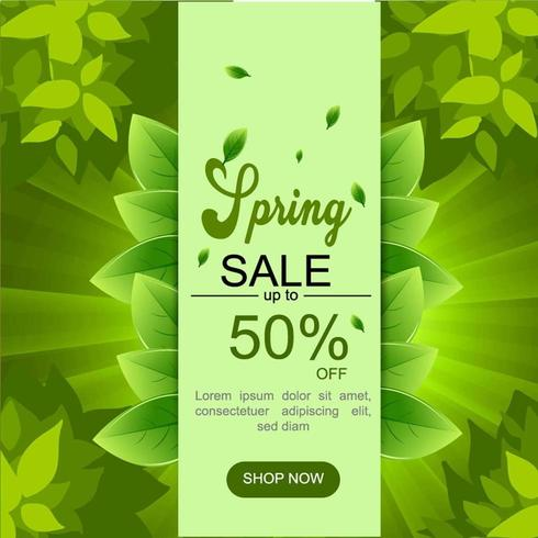 Green Spring Sale Banner with Leaves