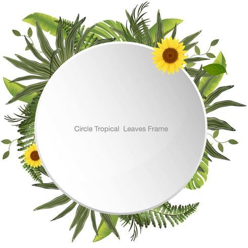 Cercle Cadre Tropical Feuilles et Fleurs
