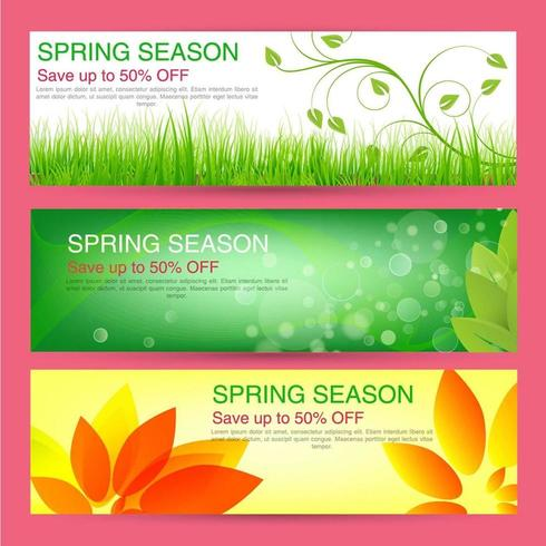 Set of 3 Colorful Spring Sale Banners